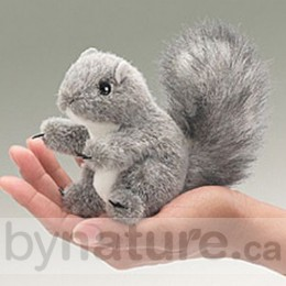 Mini Grey Squirrel, Finger Puppet