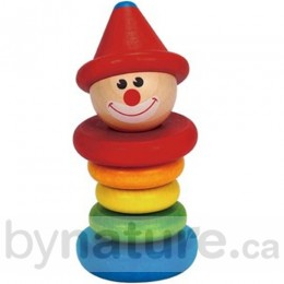 Happy Clown  Wooden Rattle
