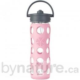 Lifefactory Glass Beverage Bottle Straw Cap, 16oz. - Peony