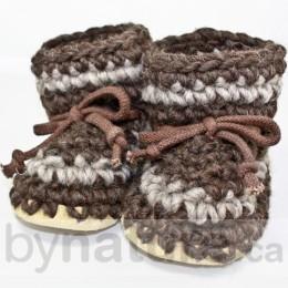 Padraig Wool Slippers, Child - Dark Brown