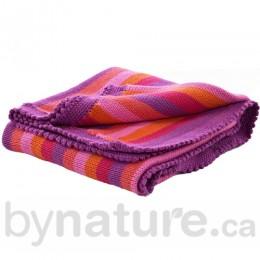Pebble Handmade Crochet Edge Blanket, Pink Stripey