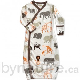 Wee Urban Organic Cotton Baby Gown, Safari