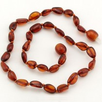 Baltic Amber Teething Necklaces, Cognac (Bean shape)