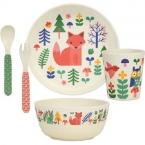 Bamboo Mealtime Set, Forest (5pcs)