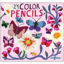Coloured Pencil Set, Butterflies and Flowers