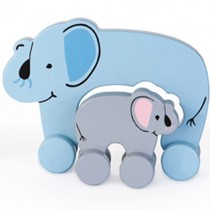 Wooden Rolling Mom & Baby, Elephant