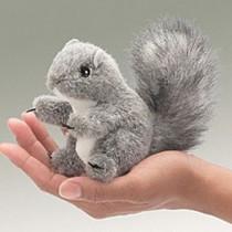 Mini Grey Squirrel, Finger Puppet