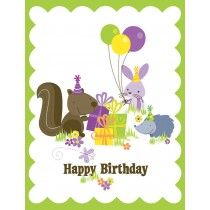 Woodand Glitter Birthday Greeting Card by Yellow Bird