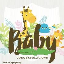 Enclosure Card by Yellow Bird, Giraffe Baby