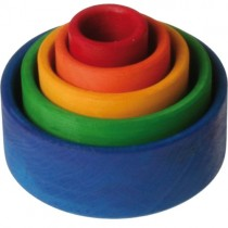 Grimm's Stacking Bowls, Rainbow Blue