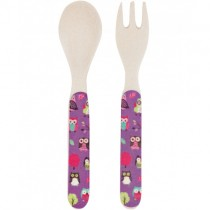Kids Bamboo Utensil Set, Party Owls