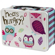 Little Blue House Tin Lunch Box, Party Owls