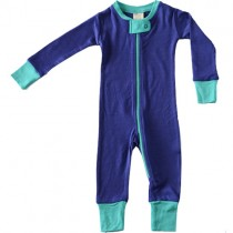 Merino Wool Zipper Rompers, Twilight/Lagoon