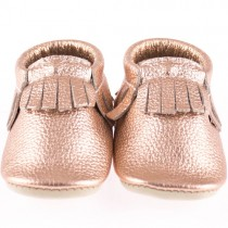 Mini Moc Soft-Soled Baby Shoes, Rose Gold