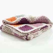 100% Organic Cotton Handmade Crochet Blanket, Soft Purple