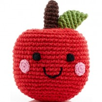Pebble Handmade Stuffed Rattle, Happy Apple