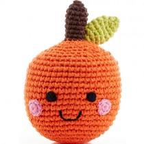 Pebble Handmade Stuffed Rattle, Happy Orange