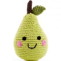 Pebble Handmade Stuffed Rattle, Happy Pear