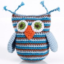 Pebble Handmade Stuffed Rattle, Owl Blue Stripey