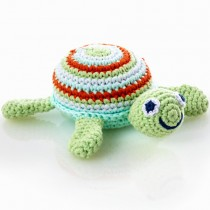 Pebble Handmade Stuffed Rattle, Green Turtle