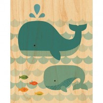 Prints on Wood, Whale & Baby