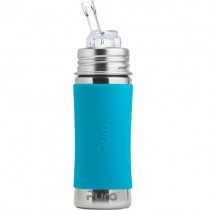 Pura Kiki Stainless Steel Straw Bottle, 11oz. - Aqua