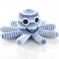 Pebble Handmade Stuffed Rattle, Octopus Pale Blue