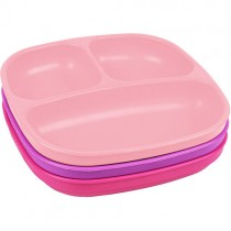 Re-Play Recycled Divided Plates, Baby Pink, Purple, Bright Pink