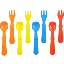 Re-Play Recycled Utensils, Red, Yellow, Sky Blue, Orange