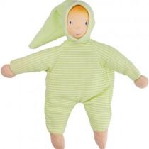 Rubber Soft Baby Doll, Green Stripe