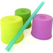 Silicone Universal Straw Top, Sea/Berry/Cobalt (3pk)