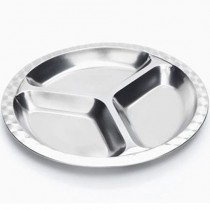 Stainless Steel Divided Food Tray, Round