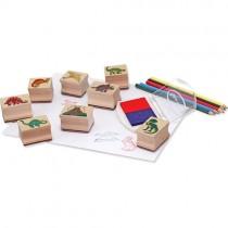 Wooden Stamp Set, Dinosaurs