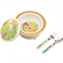 SugarBooger Covered Suction Bowl Gift Set, Farm