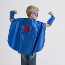 Superhero Cape, Blue with Red Star (mask and cuffs available seperately)