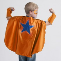 Superhero Cape, Orange with Blue Star (mask and cuffs available seperately)