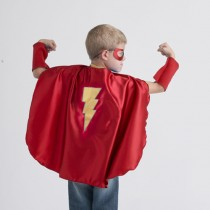 Superhero Cape, Red with Yellow Bolt (mask and cuffs available seperately)