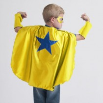 Superhero Cape, Yellow with Blue Star (mask and cuffs available seperately)