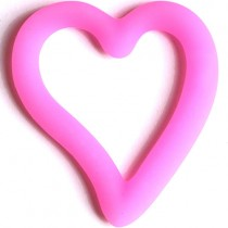 Teething Bling Open Heart Pendant, Pink