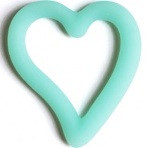 Teething Bling Open Heart Pendant, Aqua