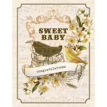 Vintage Baby Buggy Greeting Card by Yellow Bird