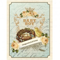 Vintage Baby Boy Greeting Card by Yellow Bird