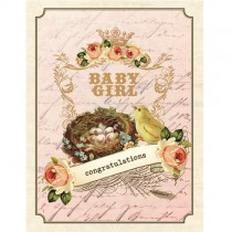 Vintage Baby Girl Greeting Card by Yellow Bird