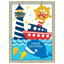 Whale Nautical Birthday Greeting Card by Yellow Bird