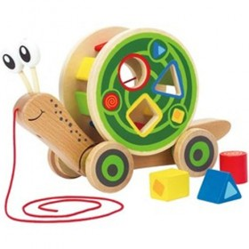 Wooden Pull Toy, Walk A-Long Snail