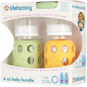 Lifefactory Glass Baby Bottle & Teether Gift Set, Spring Green/Yellow
