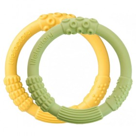 Lifefactory Silicone Teether (2pk), Green/Yellow