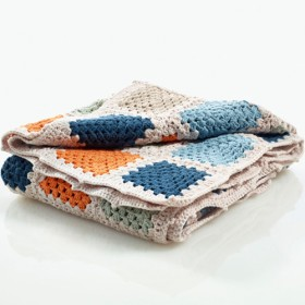 100% Organic Cotton Handmade Crochet Blanket, Petrol Blue