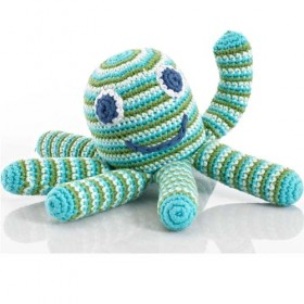 Pebble Handmade Stuffed Rattle, Octopus Green