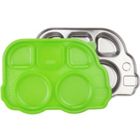 Stainless Steel Children's Bus Tray with Green Lid